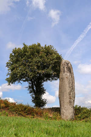 Menhir of Kergornec - megalithic monument near Saint-Gilles-Pligeaux village, department Cotes-d'Armor, Brittany, France 版權商用圖片