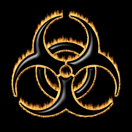 Burning warning sign of the biohazard - infected specimen 版權商用圖片