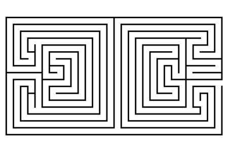 Double maze in the shape of two squares - vector