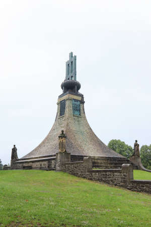 Slavkov, Czech Republic, June 10, 2020: The Cairn of Peace Memorial. The Cairn of Peace Memorial is the first the memorial of peace in Europe. Historically associated with the Battle of Austerlitz in 1805 and stands on a hill about a mile south of the vil