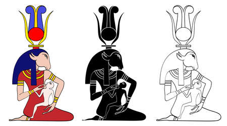 Egyptian deity  healing deity particularly invoked in the healing of children Illustration