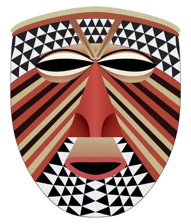 Ornate African face mask - tribal art