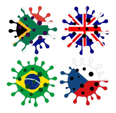 Various mutation of the  virus   - illustration