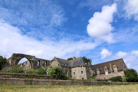 Paimpol, France, August 15, 2019: The Abbaye de Beauport, famous cloister in ruins.