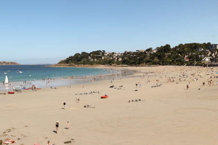 Perros-Guirec, France, August 7, 2019: St Pierre beach, Perros-Guirec, department Côtes-d'Armor, Brittany, France Editorial