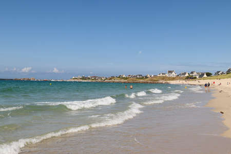 Plouescat, France, August 13, 2019: Coastal beaches in Plouescat, Brittany, France Editorial