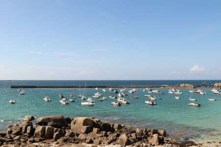 Plouescat, France, August 13, 2019: The port of Porsguen in Plouescat in Brittany, France Editorial
