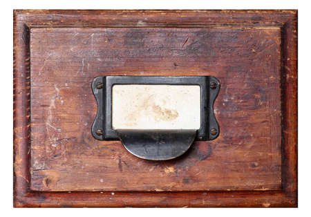 Old, used and damaged wooden drawer isolated on background Standard-Bild