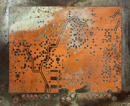 Abstract detail of the old and damaged printed circuit board - technology texture Standard-Bild