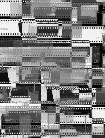 Abstract collage of celluloid film strips - old, used, dusty and scratched celluloid film strips