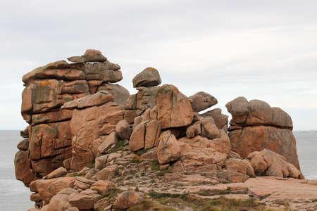 Bizarre rocks on the Pink Granite Coast - Cote de Granit Rose - great natural site of Ploumanach, Brittany, France