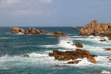 Rocky coast of Brittany - view point on Pink Granite Coast, Le Gouffre, Cote de Granit Rose, Plougrescant, Brittany, France