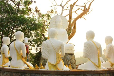 dhamma: The Buddha preached Dhamma to the disciples  Stock Photo