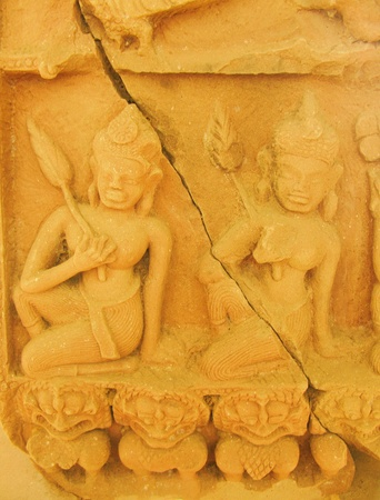 Low relief sculpture of Cambodian style photo