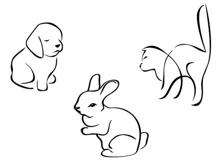 donna: Animali domestici disegnati al tratto