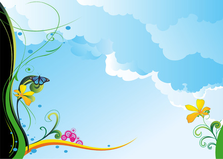 Spring background with flowers, butterflies and plants stylized Illustration