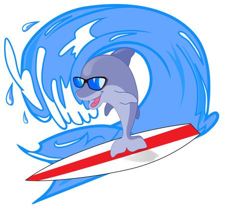 tabla de surf: Delfino surfista sobre las olas