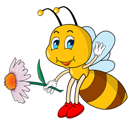 Little bee with a flower in her hands