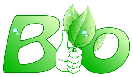 Bio written with green leaves Vector