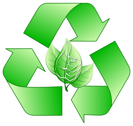 Recycling logo with stylized leaves Vector
