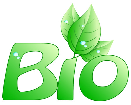 Bio written with stylized leaves Vector