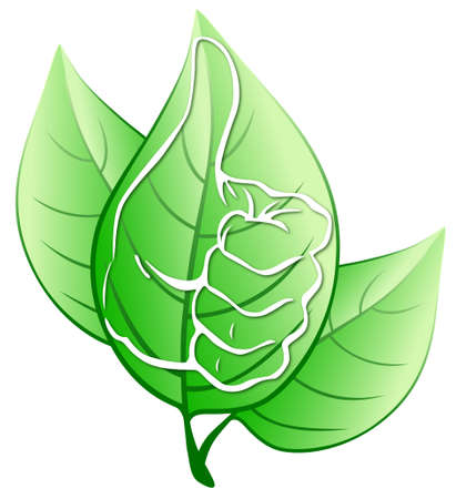 Green leaves with stylized hand