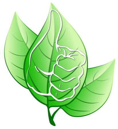 Verde deja con mano estilizada Ilustración de vector