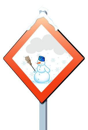 Road sign indicating the arrival of winter