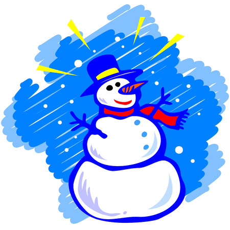 bambini: Snowman on a blue background