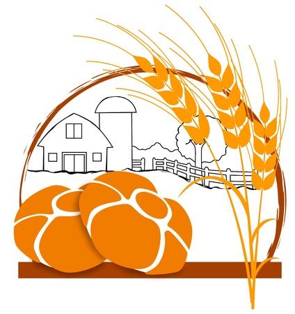 di: Logo con Elementi caratteristici sono pane e spighe di grano