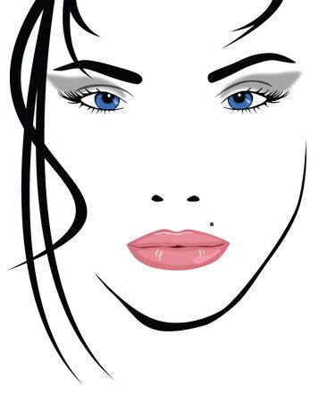 closeup of a face of a young woman with sexy look Vector