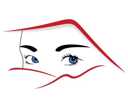 whose: ritratto stilizzato di una donna il cui volto era coperto da un velo