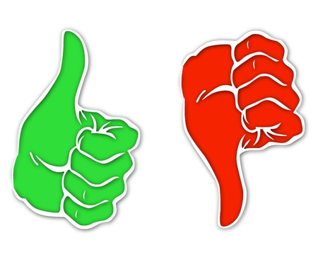 cons: Image representing two hands that are positive or negative Illustration