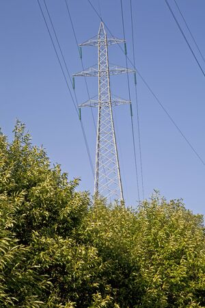 high voltage pylon that protrudes from a dense vegetation Stock Photo - 14844987