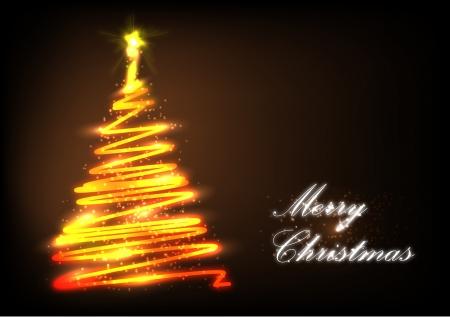 fir cone: Estilizado �rbol de Navidad con luces y adornos sobre un fondo oscuro