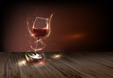 glass with red wine: Glass of wine adorned with many small colored lights on a dark background Illustration