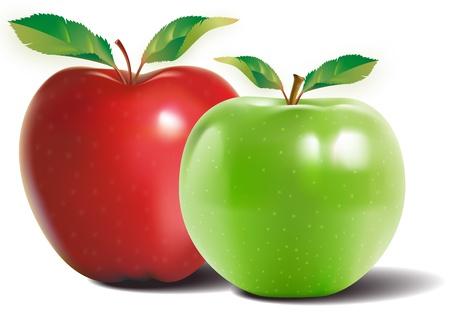 Grüner Apfel mit zwei Blättern und einer Reflexion über die Haut glänzend