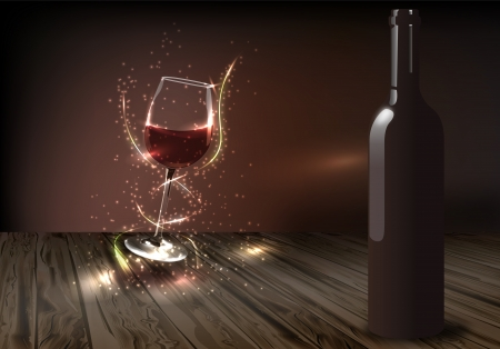 Glass of wine highlighted by the trails of colored light on a dark background