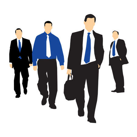 towards: group of business people walking together towards a target Illustration