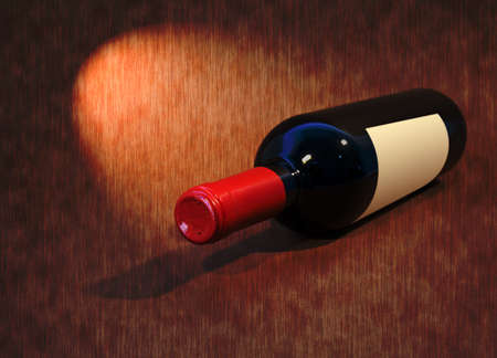 Bottle of wine on a dark background with a spotlight focused on photo