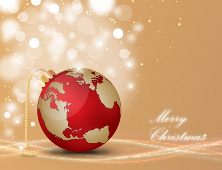 Christmas ball with world map on a decorated background