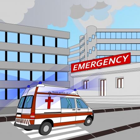 скорая помощь: скорая с мигалками в гонке в отделение неотложной помощи Иллюстрация