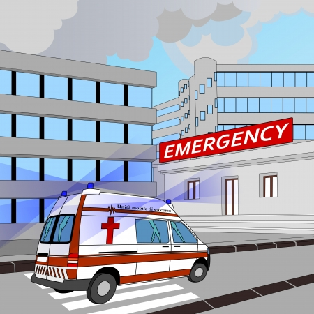 ambulance with flashing lights in the race to the emergency room Vector