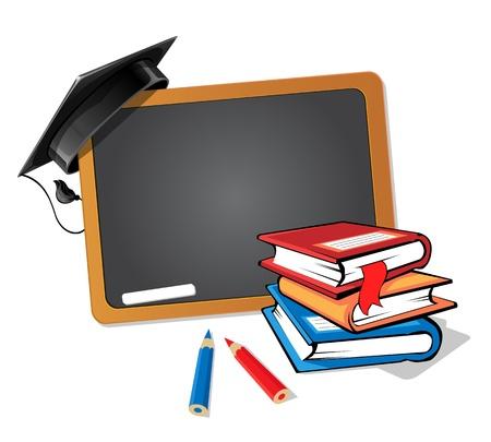 degree: Pila di libri con una lavagna e uno sfondo cappello di laurea