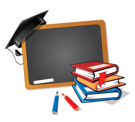 Stack of books with a blackboard and a graduation hat background