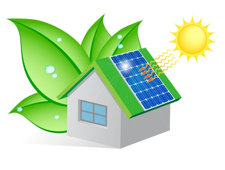 Ecological house with a solar panel on the roof and wrapped in leaves with dew drops Stock Vector - 15164147