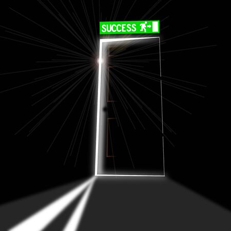 Output port view from inside of a dark room. Concept of professional success Illustration
