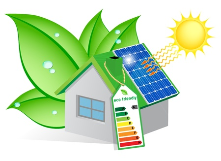 maison solaire: Maison �cologique avec un panneau solaire sur le toit et envelopp� dans des feuilles avec des gouttes de ros�e