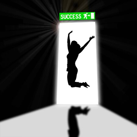 Output port view from inside of a dark room  Concept of professional success