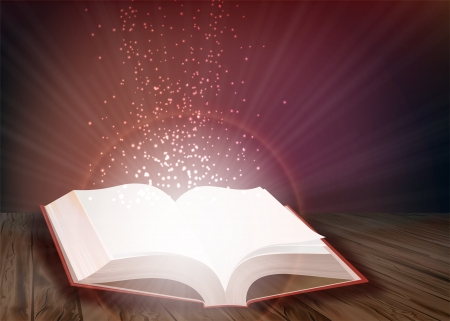 publishing: Open book that emits bright light of knowledge
